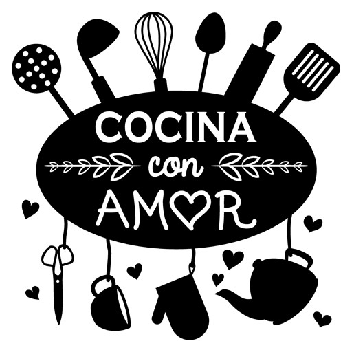 Vinilo decorativo cocina con amor for Utensilios del chef