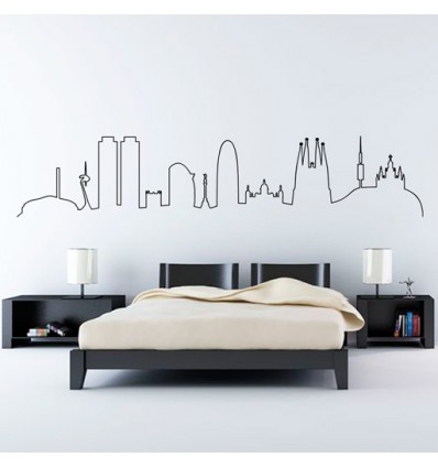 Vinilo decorativo skyline barcelona l nea for Frases en vinilo para pared